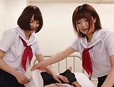 Big tit schoolgirls blows wood hard in a wild duo picture 3