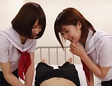 Big tit schoolgirls blows wood hard in a wild duo picture 4