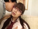 Nice Asian teen in glasses enjoys hot stand fucking