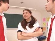 Crazy Japanese teen gal Sarii Aisahara pleases two male classmates