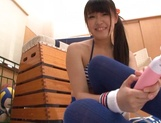 Amateur Asian teen Airi Satou gets toy pleasure in the locker room picture 12