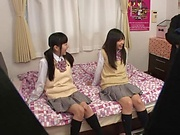 Nasty Asian teens Yui Saotome, and Moa Hoshizora tag team fucking