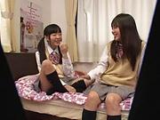 Yui Saotome, and Moa Hoshizora in nasty threesome fucking