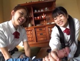 Two naughty Japanese schoolgirls share cock and ride it passionately picture 13