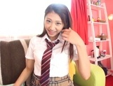 Playful teen schoolgirl Sarii Aisahara gets her goodies rubbed on pov