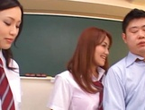 Schoolgirls fucked by hot teacher and made to swallow