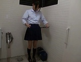Asian teen Miu Mizuno loves to suck cock in the toilet