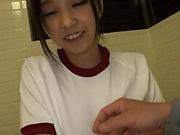 Asian teen Miu Mizuno loves to suck cock in the toilet