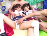 Foursome action with two sleazy Asian schoolgirls picture 15