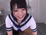 Horny Asian gal Ai Uehara gives a footjob and bounces on rod picture 3