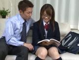 Insolent Japanese schoolgirl tries cock in her vag picture 4