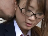 Insolent Japanese schoolgirl tries cock in her vag