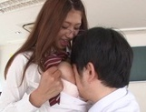 Red headed Japanese chick in glasses Sarii Aisahara enjoys hardcore sex
