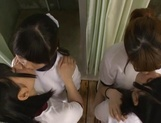 Four gorgeous Japanese lesbian schoolgirls fuck each other