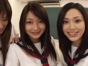 Japanese schoolgirls sharing cock in sleazy manners