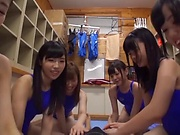 Naughty babe enjoys a kinky group fun