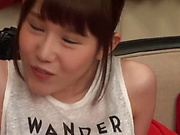Ebina Rina has her shaved twat pleased well