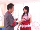 Young cheerleader Cecil Fujisaki made to suck cock then fucked picture 1