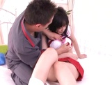 Young cheerleader Cecil Fujisaki made to suck cock then fucked picture 9