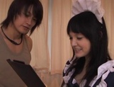 Asian maid Cecil Fujisaki fucked by two males in threesome scenes picture 2