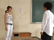 Hot Japanese teacher Kanou Juri fucked hard from behind