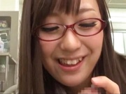 Busty JP doctor Mashiro Yuuna with shaved cunt sucks cock in POV