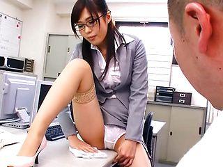 Shameless teacher Emi Nanjyou rubs her pussy and sucks cock in a toilet