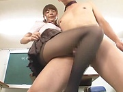 Lusty Asian schoolgirl gives sexy head and footjob