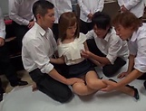 Sensational teacher Kirishima Rino enjoys steamy gang bang