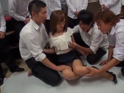 Seductive teacher Kirishima Rino has wet cunt pounded