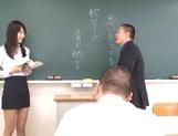 Crazy Tokyo female teacher Airi Mikami rides cock in a classroom picture 11