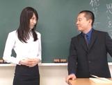 Crazy Tokyo female teacher Airi Mikami rides cock in a classroom picture 12