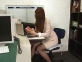 Sexy long-haired teacher Hikari Nishino enjoys cock sucking and hot fuck