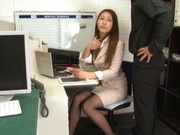 Sexy long-haired teacher Hikari Nishino enjoys cock sucking and hot fuck