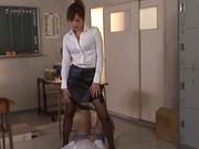 Japanese teacher goes wild on student's fat dick