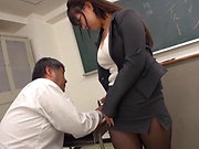 Busty teacher Makise Ai knows handle cocks