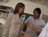 Seductive teacher Kirishima Rino enjoys steamy group sex