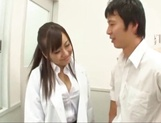 Busty Japanese teacher in black stockings Mashiro Yuuna in group sex picture 7