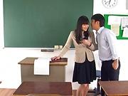Hirose Yoko has her twat rammed in class