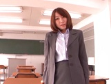 Dirty Asian teacher Chika Sena blows tasty dick while masturbating