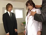 Stunning Iioka Kanako enjoys two hunk men picture 12