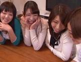 Hunky teacher fucks several sexy Asian babes