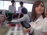 Facial ends Kirishima Rino's filthy cock sucking show