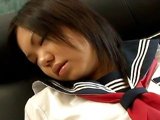 Mischievous Japanese schoolgirl Kokone enjoys anal and pussy rubbing