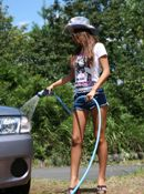 Yoko Yoshikawa Hot Model Is Washing Her Car Outside