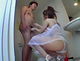 Yua Aida Enjoys Giving Her Guy A Blowjob In The Bathroom