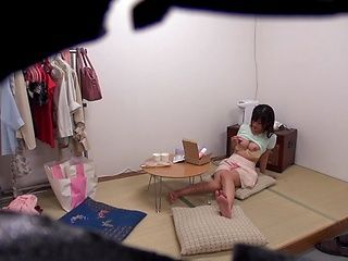 Sexy Asian doll Haruki Satou shows toy insertion for voyeur