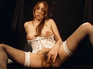 Big titted babe in sexy lingerie, Angelina Mizuki fingers herself