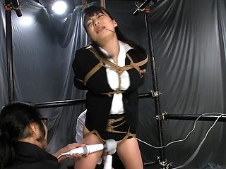 Horny office girl Ouka Fujimura gets tied up and enjoys pussy drilling