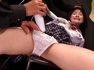 Playful Japanese schoolgirl Chika Hirako spreads legs gets stimulated